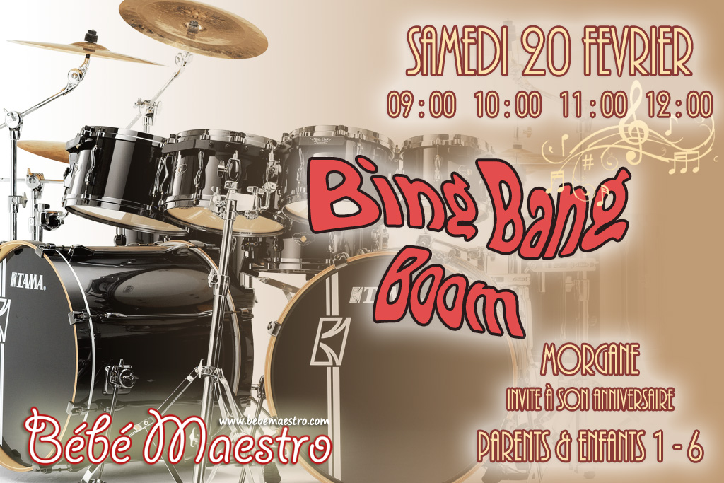 Saturday 20 February - Bing Bang Boom - Extra Music class for all